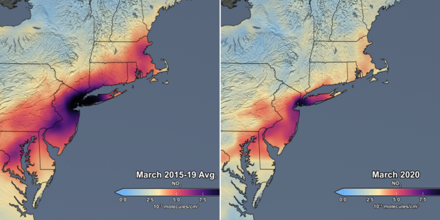 NASA Satellite Data Show 30 Percent Drop In Air Pollution Over Northeast U.S. Credits: NASA